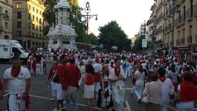 A very popular street - a sea of red and white