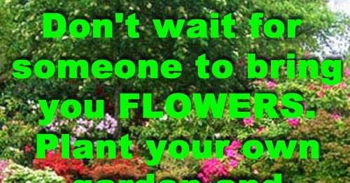 Don't Wait For Someone To Bring You FLOWERS. Plant Your