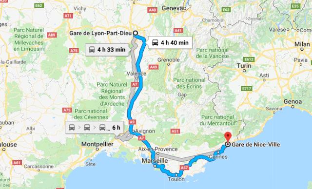 Mapa viagem de trem de Lyon a Nice
