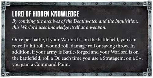 Rasgo Señor de la guerra deathwatch