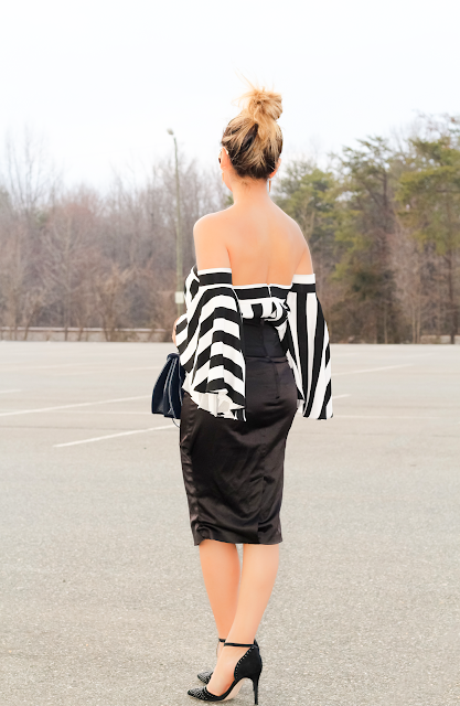 black and white stripes off the shoulder top