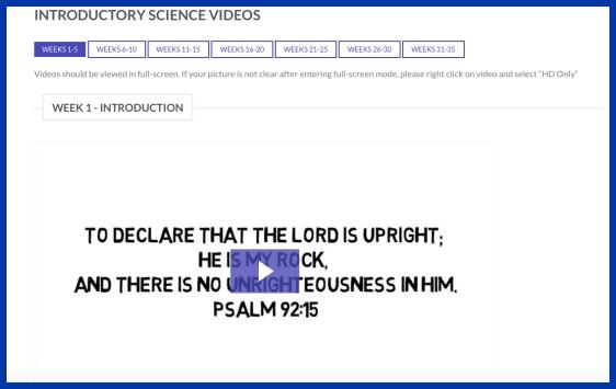 Video based homeschool science