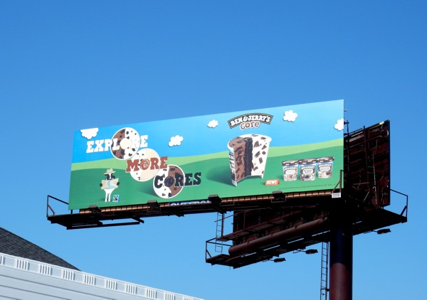 Ben Jerry's icecream Explore more cores billboard