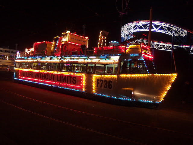 The boat special heritage illuminated tram outside Blackpool's Pleasure Beach