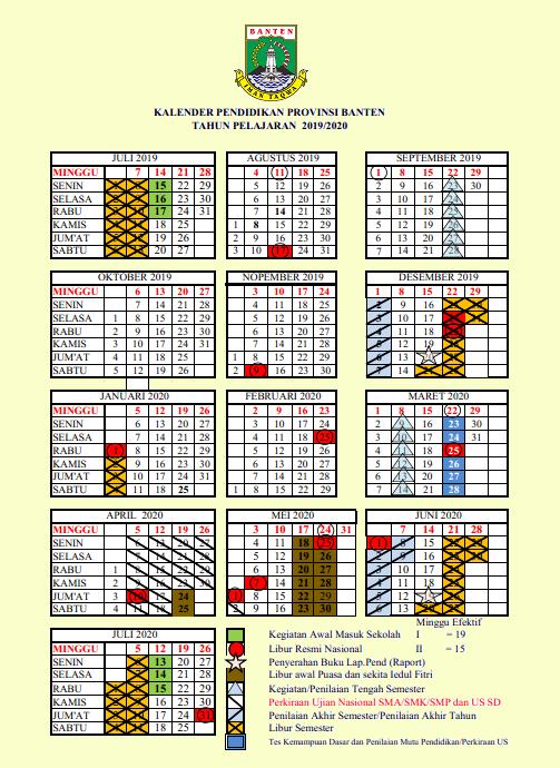 Kalender Pendidikan Provinsi Banten Tahun 2019/2020
