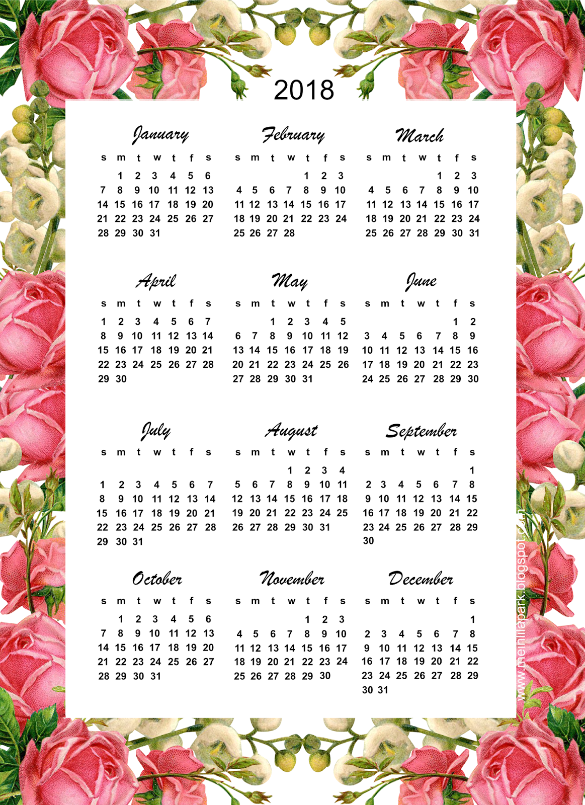 "Free printable 2018 calendar ""roses"" - year at a glance ..."
