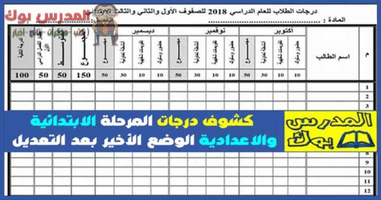 حمل كشوف رصد الدرجات ابتدائى وإعدادى 2019 طبقاً للقرار الوزاري رقم 377