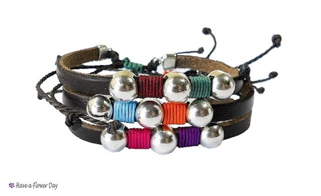 Pulsera cuero y cuerda para hombre · Men's leather bracelet
