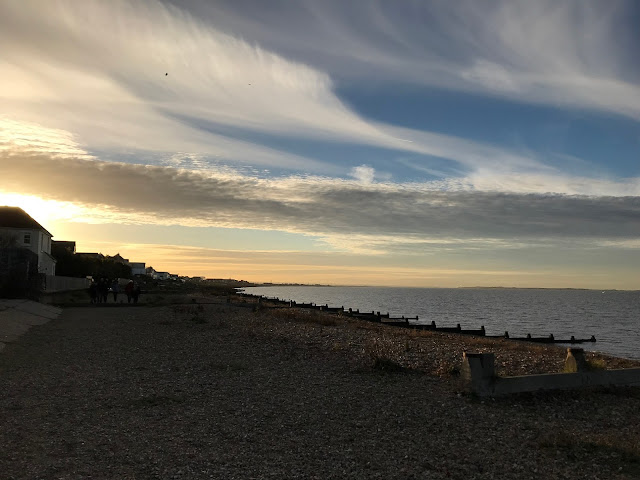 Sunset over the beach, Whitstable, Kent