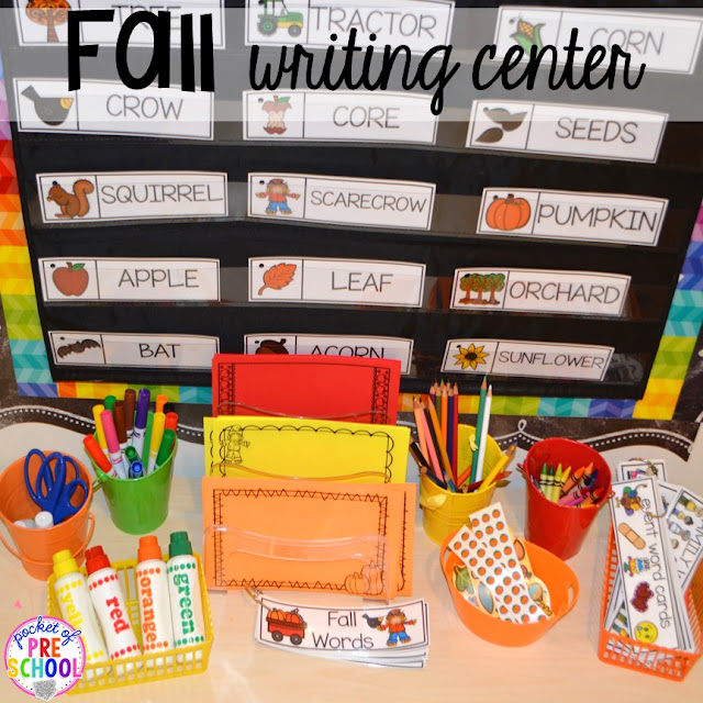 Fall writing center. Fall math, literacy, fine motor, art, sensory, and dramatic play activities for your preschool, pre-k, and kindergarten classroom.
