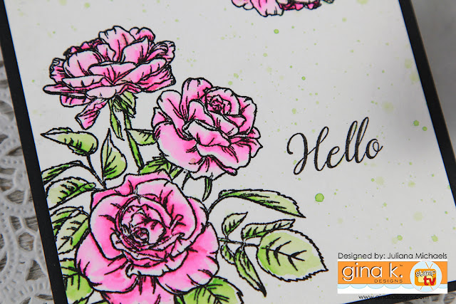 Hello Watercolor Rose Card by Juliana Michaels featuring Gina K Designs Rose Bouquet Incentive Stamp Set
