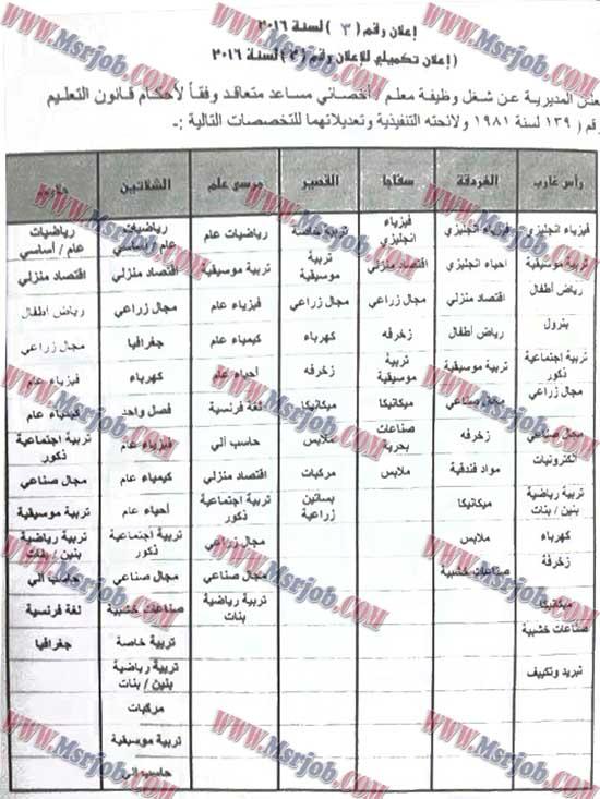 الاعلان التكميليى لوظائف وزارة التربية والتعليم اعلان رقم 3 لسنة 2016