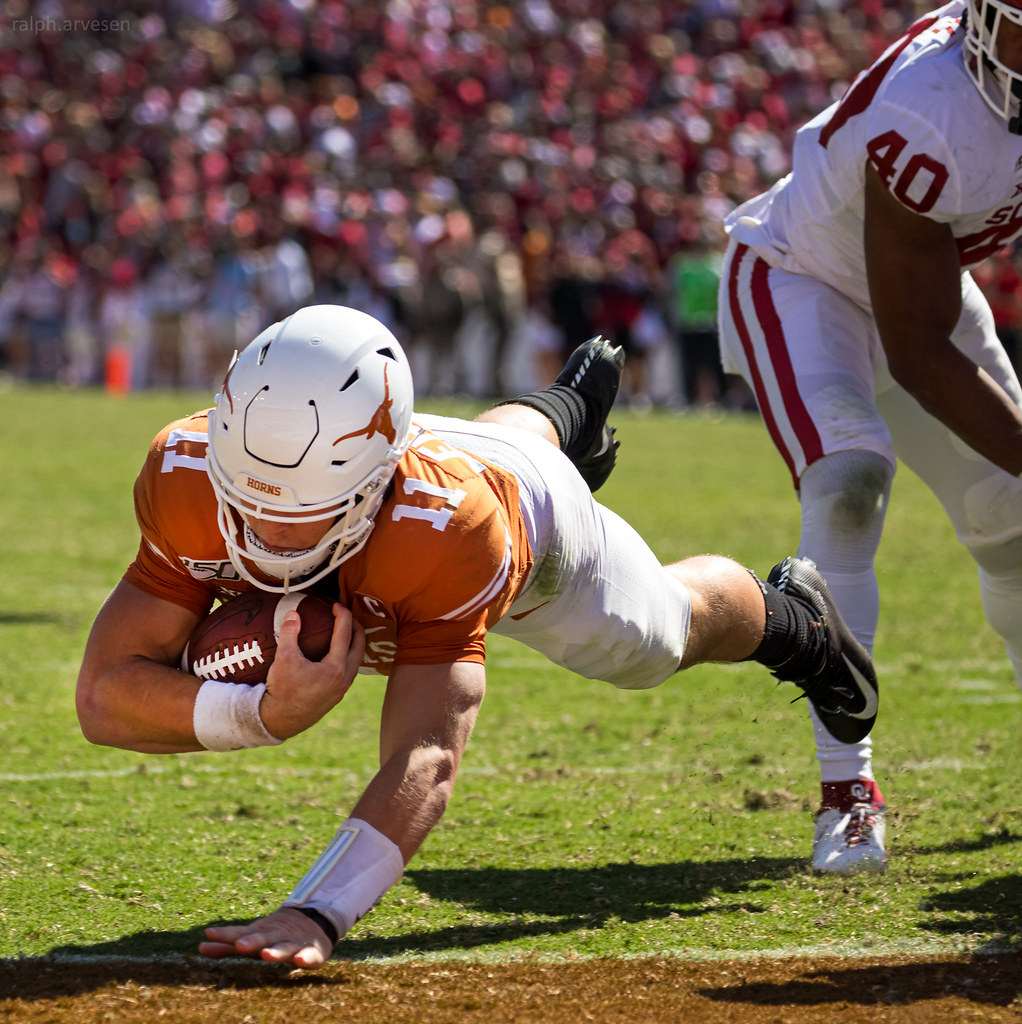 The University of Texas Longhorns football game against OU ...