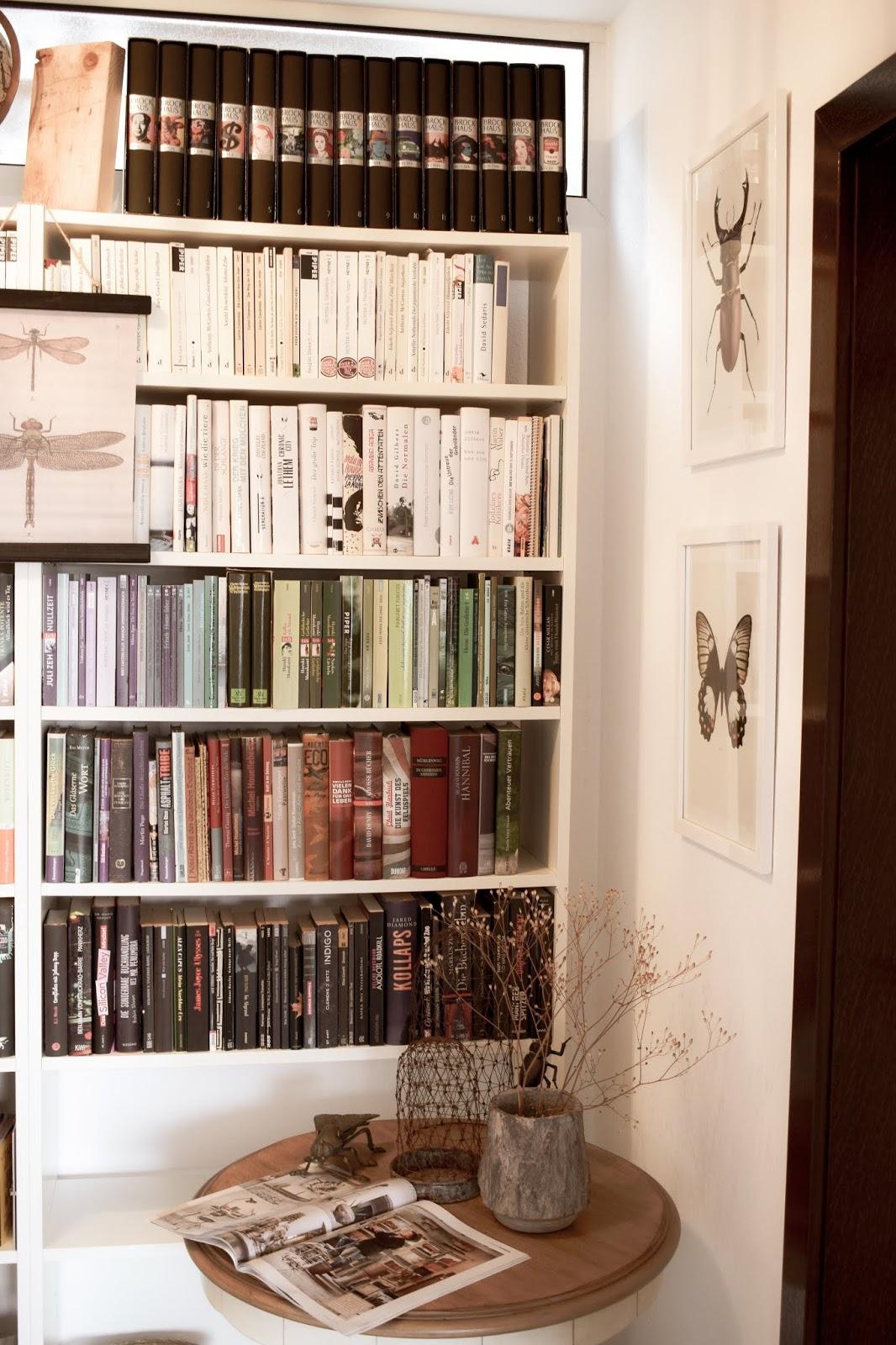 Bücherregale ordnen und schön dekorieren. Dekotipps Ordnung Bücher Regale Bibliothek