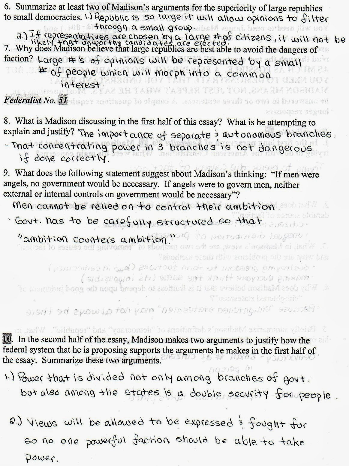 Mr Bravo S Pod Blog 1 2 Federalist Papers 10 Amp 51 Worksheet