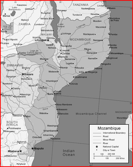 image: Black and white Mozambique map
