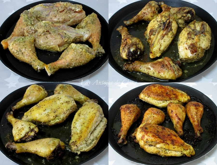 Preparación pollo al horno con hierbas provenzales y limón