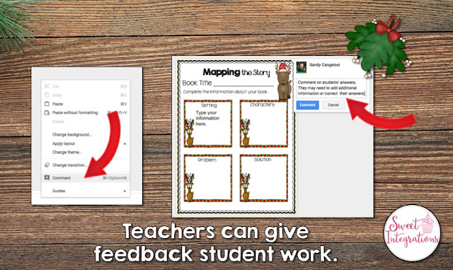 """Teachers can give feedback on student work"" with a screenshot of how to use the comment feature to do this"