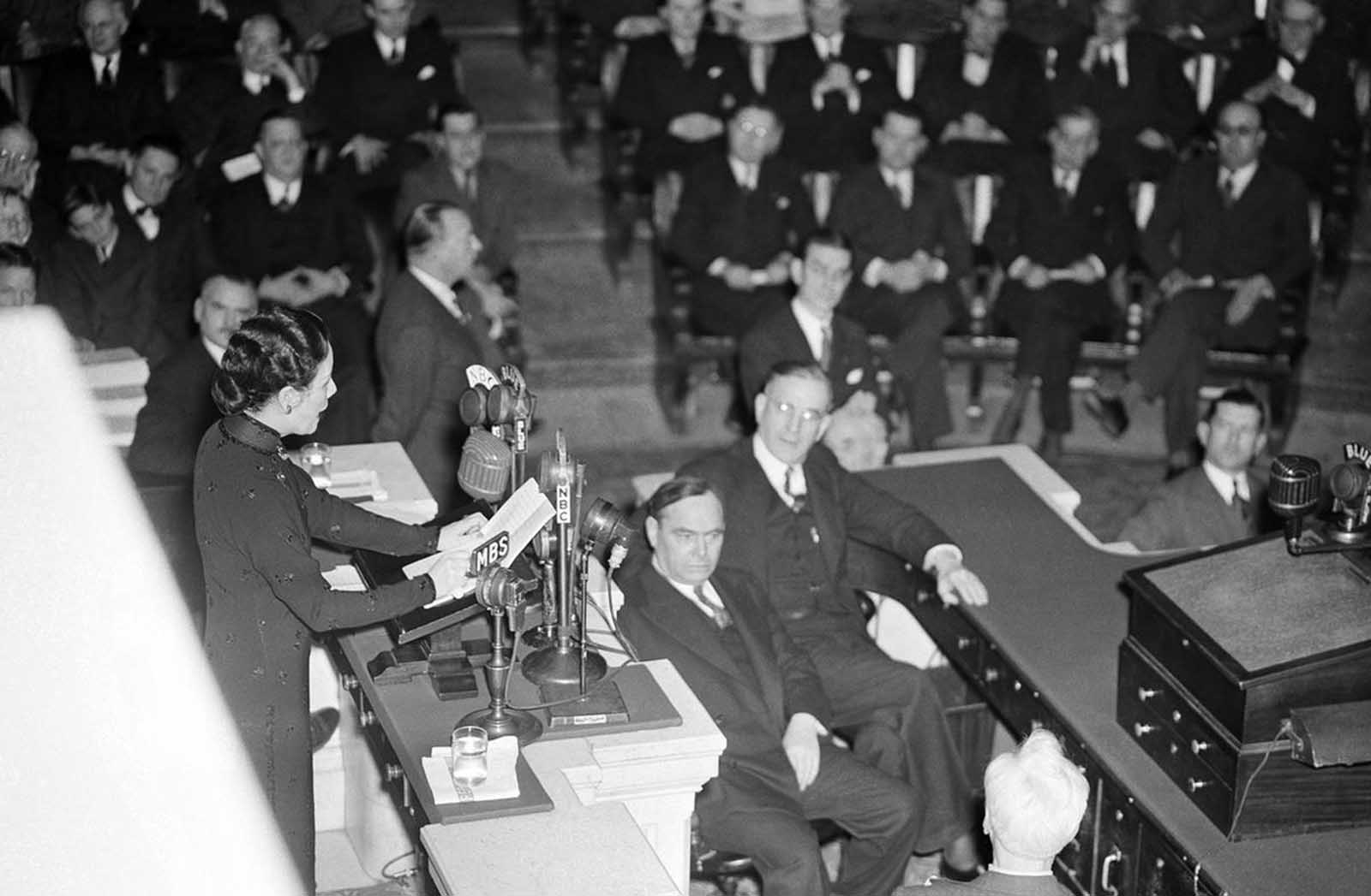 With practically every member present, the U.S. House of Representatives in Washington, District of Columbia, hears its second woman speak other than a member, as Madame Chiang Kai-Shek, wife of China's Generalissimo, pleads for maximum efforts to halt Japan's war aims on February 18, 1943.
