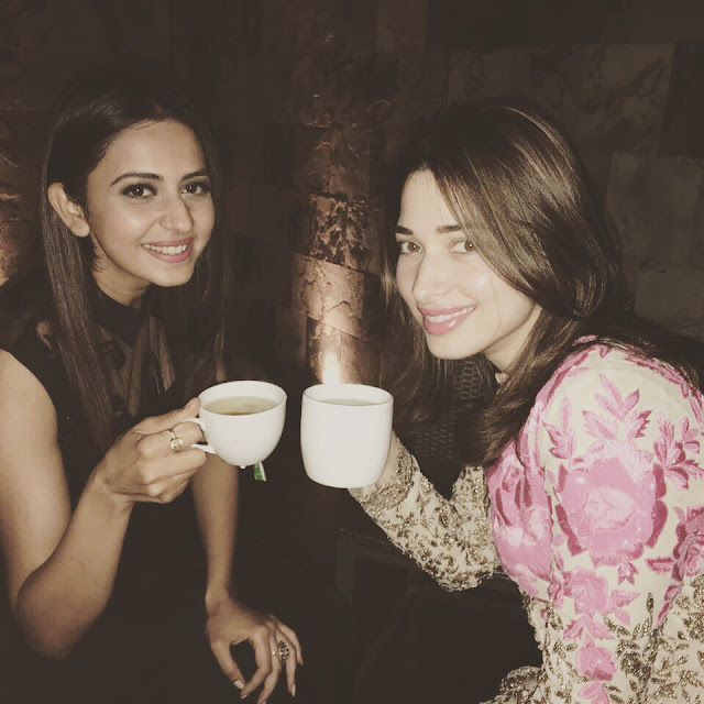rakul preet singh, tamanna having greeen tea pics