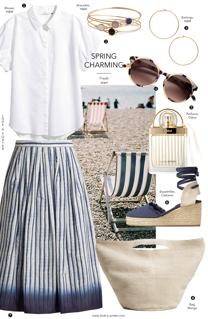 Styling a full midi length skirt and white shirt for a timeless and elegant summer outfit for www.look-a-porter.com style & fashion blog / Max Mara, Weekend by Max Mara, H&M, Mango, Chloe, high street shoppping, best buys, summer outfit ideas