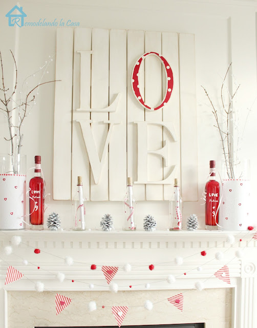 DIY Valentine's day mantel with love art