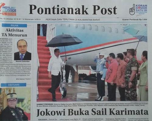 SAMBUTAN : Berita kedatangan Presiden RI Joko Widodo dan rombongan tidak luput dari ulasan pada wartawan media. Foto Asep Haryono