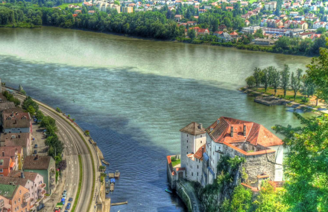 The confluence of the river Danube, Ilz, and Inn in Passau, Germany