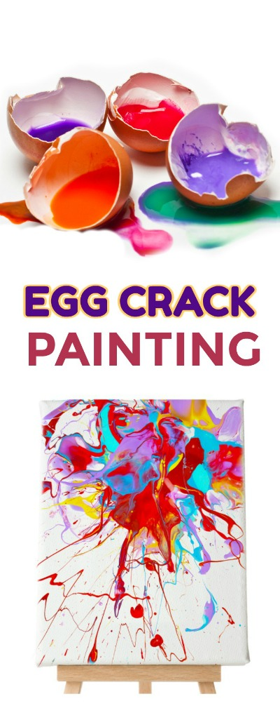 MUST-TRY ACTIVITY: Make paint filled eggs & toss them at canvas! What?!  This is SO COOL!  #paintfilledeggs #eggcrackpainting #artforkids #kidscrafts