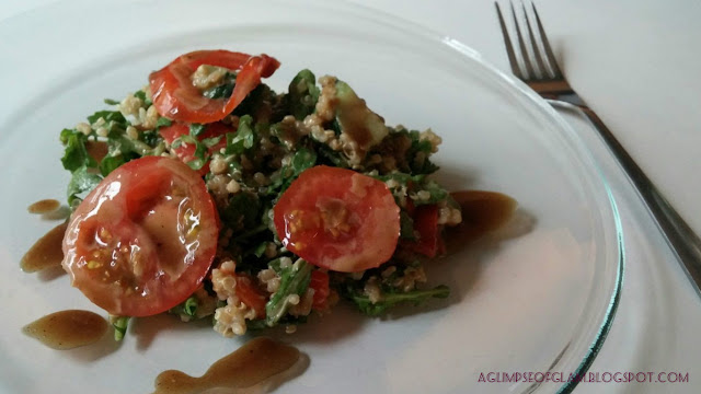 Arugula Quinoa Salad with homemade Honey Balsamic Vinaigrette - Andrea Tiffany aglimpseofglam