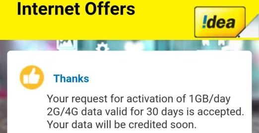 Idea – Get Free Idea 1GB 4G Data per Day for 30 Days