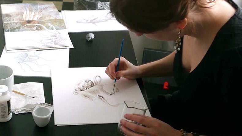 Un pulpo pintado con tinta de 95 millones de años de antigüedad