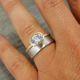 gold moissanite engagement ring