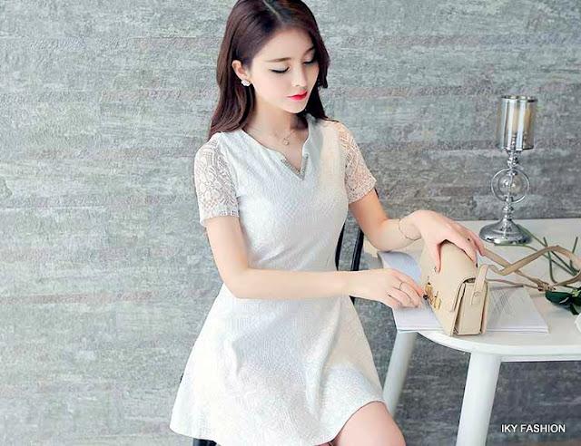model Dress Pendek Polos cewek kekinian