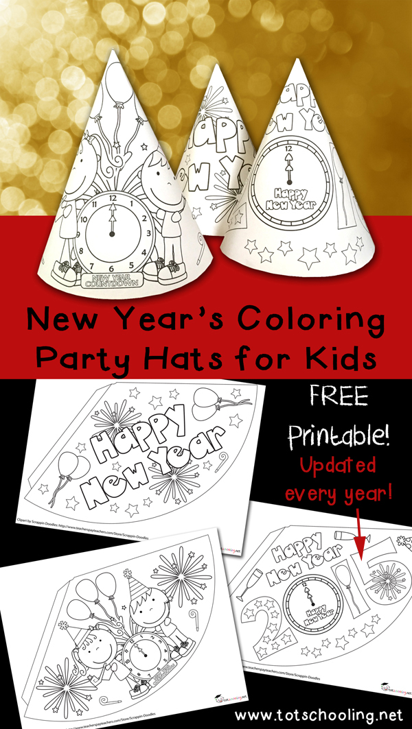 Free New Years Coloring Party Hats. Printable activity for New Year's Eve for kids to color, decorate and turn into party hats!