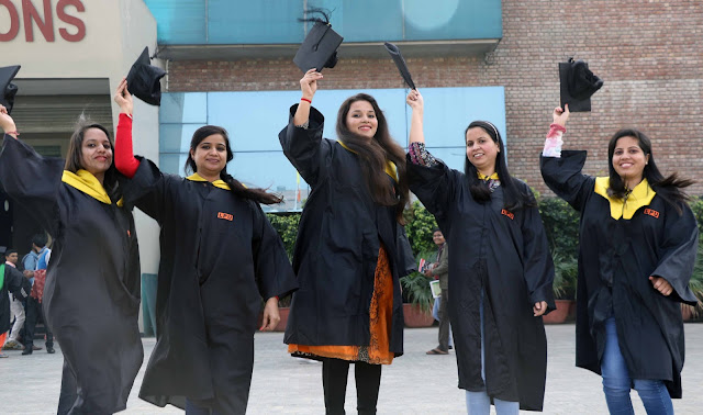 Students of LPU looking cheerful and raising their hats after getting degree from HE President of the Republic of Mauritius Dr Ameenah Gurib Fakim during 7th Convocation at LPU