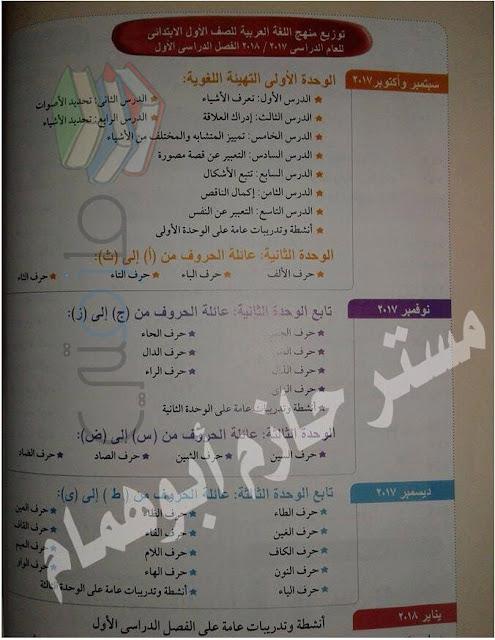 توزيع منهج اللغة العربية للصف الأول الإبتدائى ترم أول 2017/2018