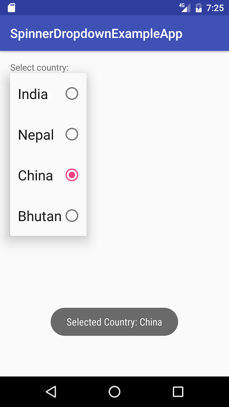 Android Spinner Dropdown Example - Java2Blog