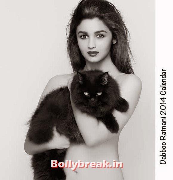 , Shocking: Alia Bhatt Topless Photo with her Pussy Cat - Dabboo Ratnani Calendar 2014