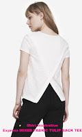 Express MIXED FABRIC TULIP BACK TEE - $19.99