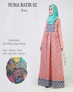 Model Long Dress Batik Kombinasi