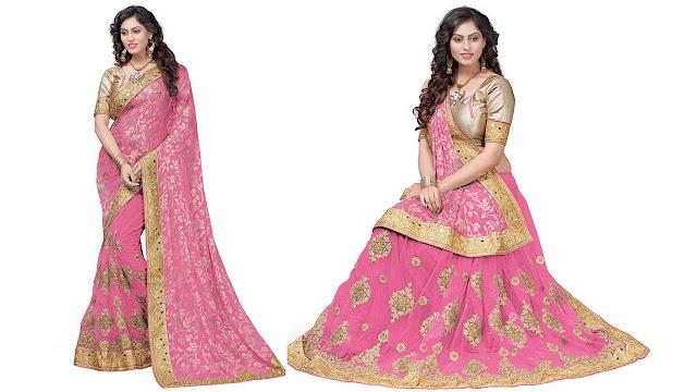 Pragati Fashion Hub Embroidered Fashion Brasso, Net Saree  (Pink)