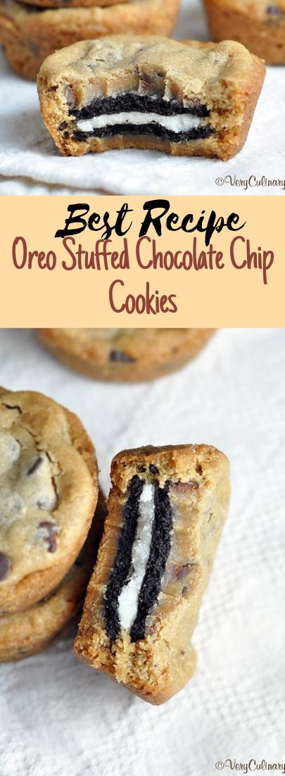 Oreo Stuffed Chocolate Chip Cookies #desserts #cakerecipe