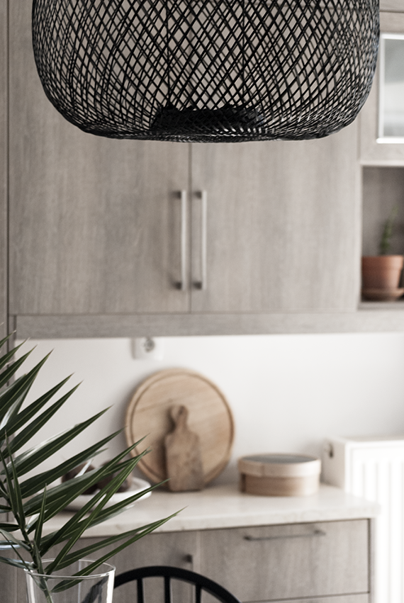 My new bamboo pendant lamp in the kitchen by The Maison Craft. Photo © Eleni Psyllaki My Paradissi