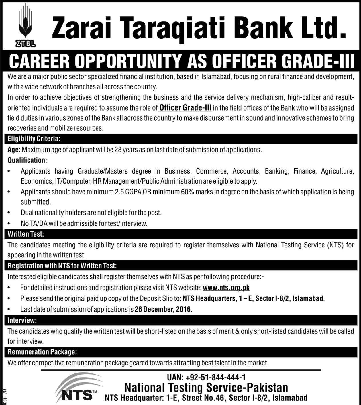 Zarai Taraqiati Bank Limited Islamabad Jobs