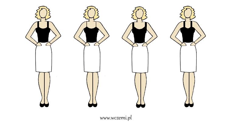 szerokie ramiona wyszczuplone za pomocą właściwie dobranych ramiączek bluzki