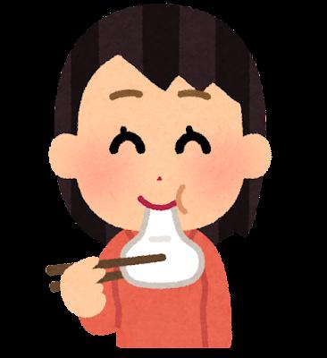 お餅を食べる人のイラスト(女性)