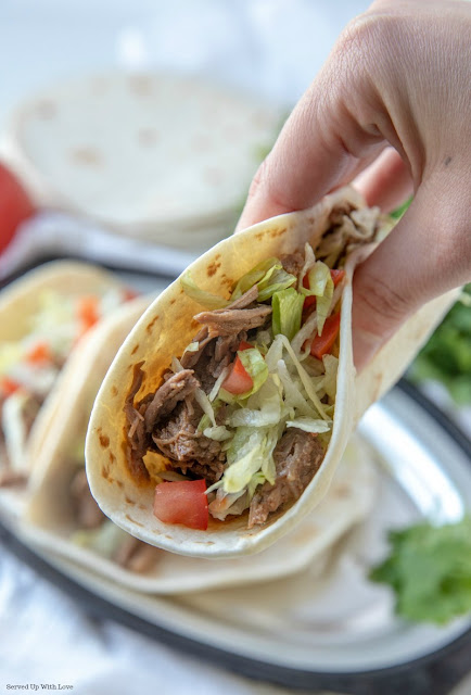 Easy Slow Cooker Crock Pot Shredded Beef Tacos recipe from Served Up With Love