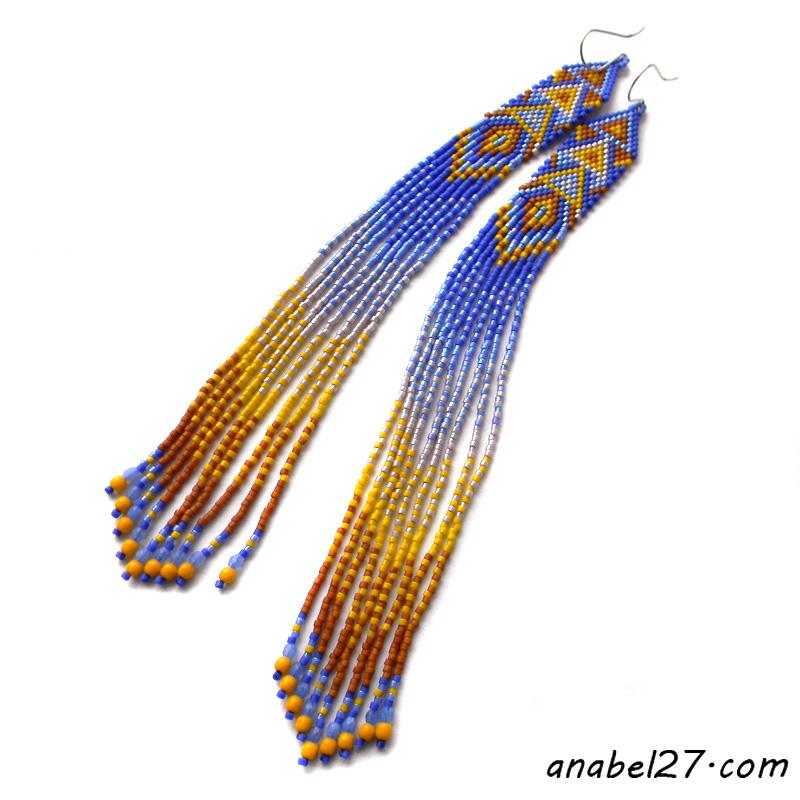 купить яркие украшения индейские серьги подарок
