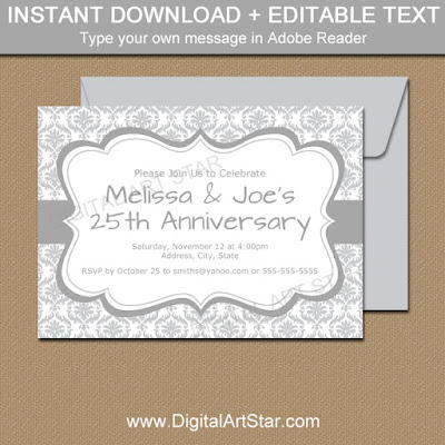 25th Anniversary Silver Damask Invitation Template